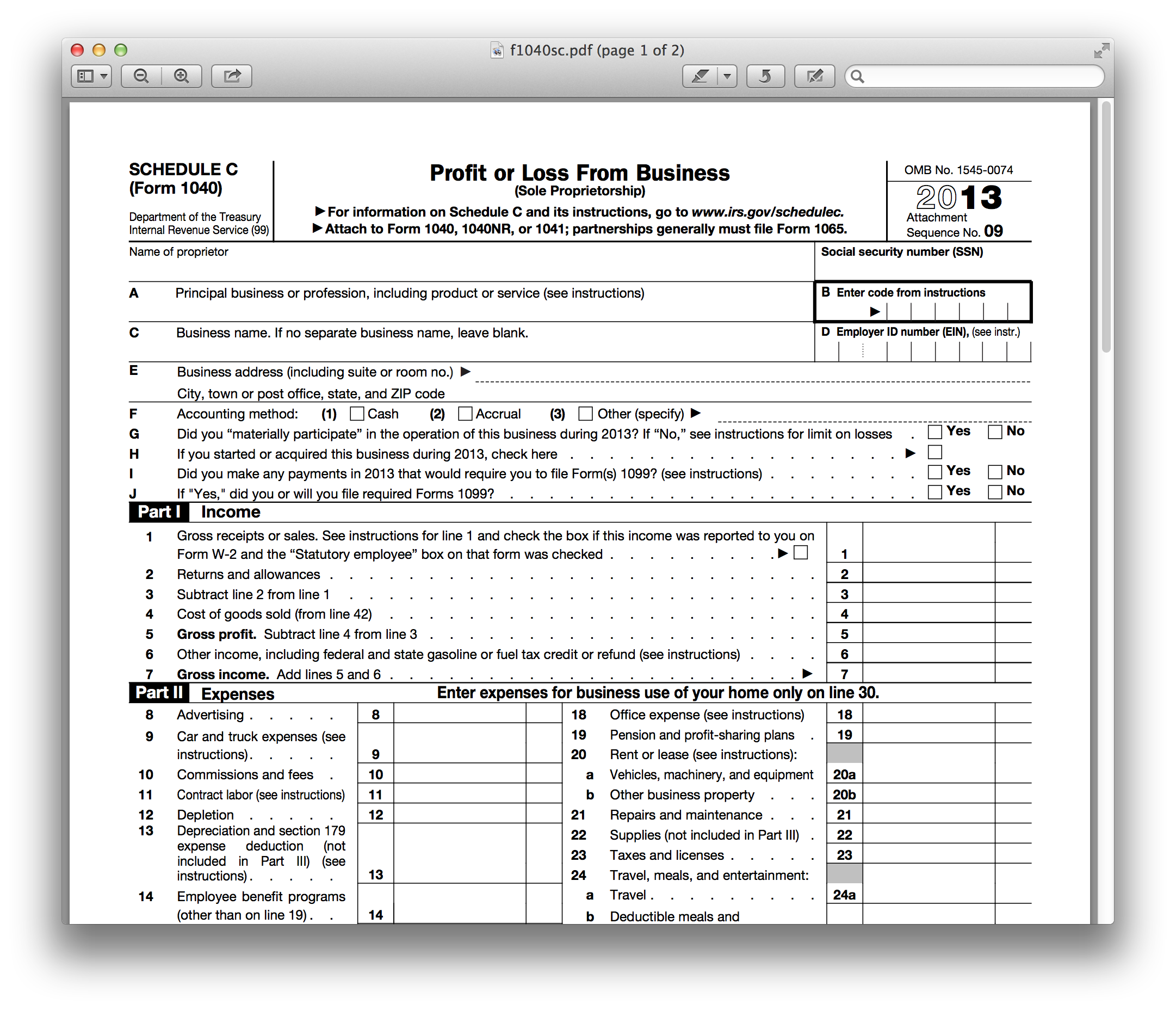 2013 IRS 1040 Tax Forms